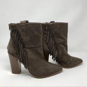 Ankle Booties with Fringe and Back Zipper